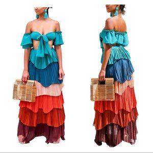 Dresses & Skirts - 🔥Tropical🔥🌴 UNIQUE Crop Top - Maxi Long Skirt
